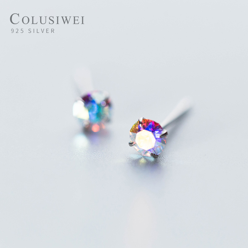 Colusiwei Fashion 925 Sterling Silver Colorful Rainbow Crystal Small Stud Earrings For Women Sterling Silver Jewelry 2019