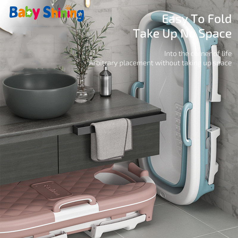Baby Shining 1.4m/55in Baby Bath Tub Portable Home Roller Massage Steaming Adult Bathtub Plastic Folding Thicken Bathtub Family