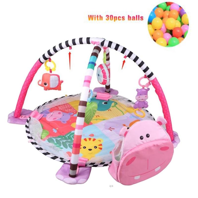H32398e1f7bbb4d89908a364ca210cba13 3 In 1 Baby Play Mat Round Lion Turtle Crawling Blanket Infant Game Pad Play Rug Kids Activity Mat Gym Folding Tapete Infantil