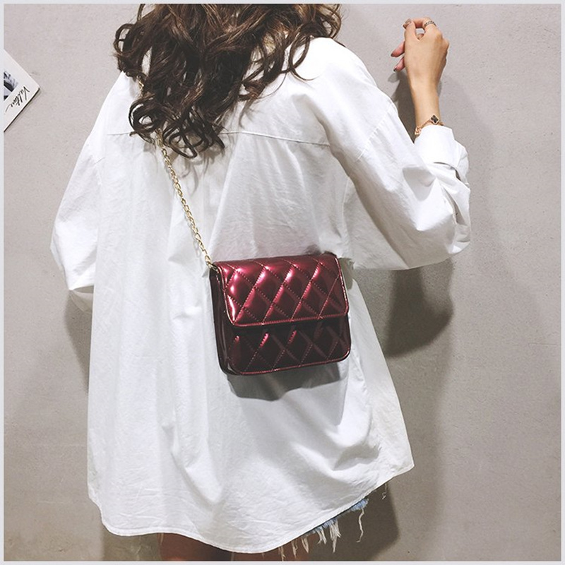 PU Leather Solid Color Plaid Chain Crossbody Bag Fashion Wild Small Fragrance Shoulder Bag 2019 Autumn New Female Bag in Top Handle Bags from Luggage Bags