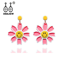 DREJEW Yellow Pink Orange Blue Smile Face Daisy Flower Statement Earrings Drop for Women Fashion Wedding Jewelry HE9511