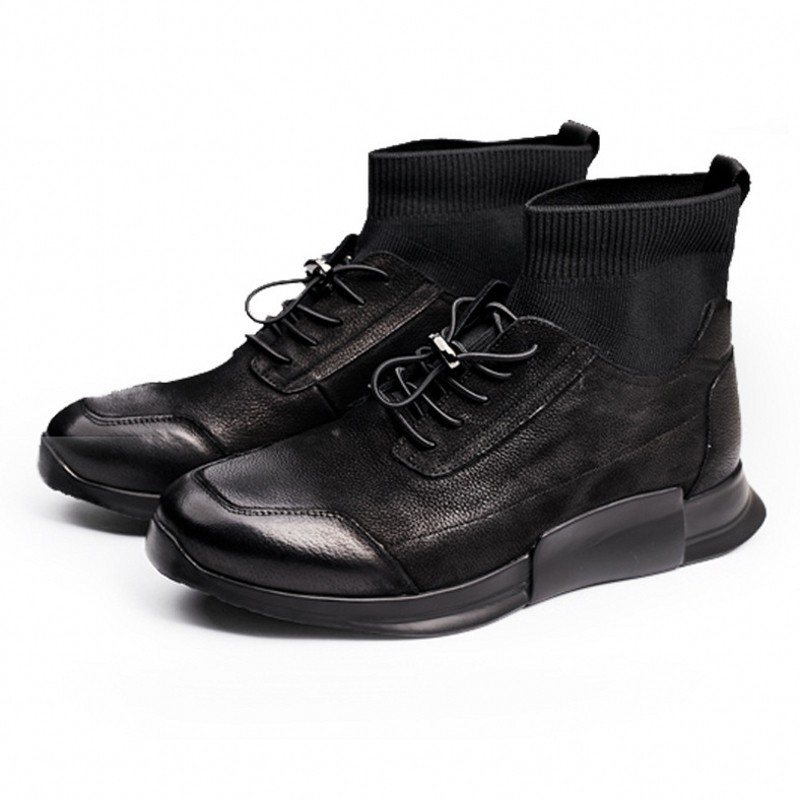 2020 Designer Man Casual Shoes Lace Up Genuine Leather Boots Mens Luxury High Quality Round Toe Black Spring Autumn Work Boots