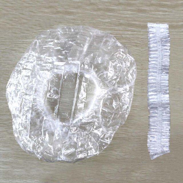 100PCS Disposable Transparent Shower Caps Bathing Hat Hotel Elastic Clear Hair Salon Bathroom Products Bath Cap
