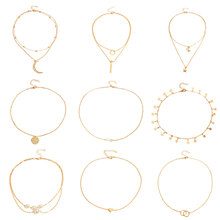 9 Pcs/ Set New Moon Star Love Heart Pendant Necklace Gold Color Circle Pearl Layered Clavicle Chain Necklace Jewelry