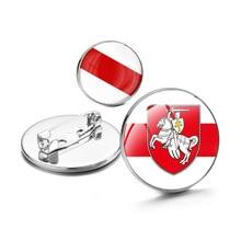 25mm Republic of Belarus Symbol Badge Cabochon crystal Brooches Coat of Arms of Belarus Historical Flag Brooch/Badges/Lapel Pins