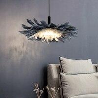 새로운 그물 빨간 침실 Pedant 램프 북유럽 ins 깃털 램프 따뜻한 예술 어린이 램프 창조적 인 성격 연구 램프