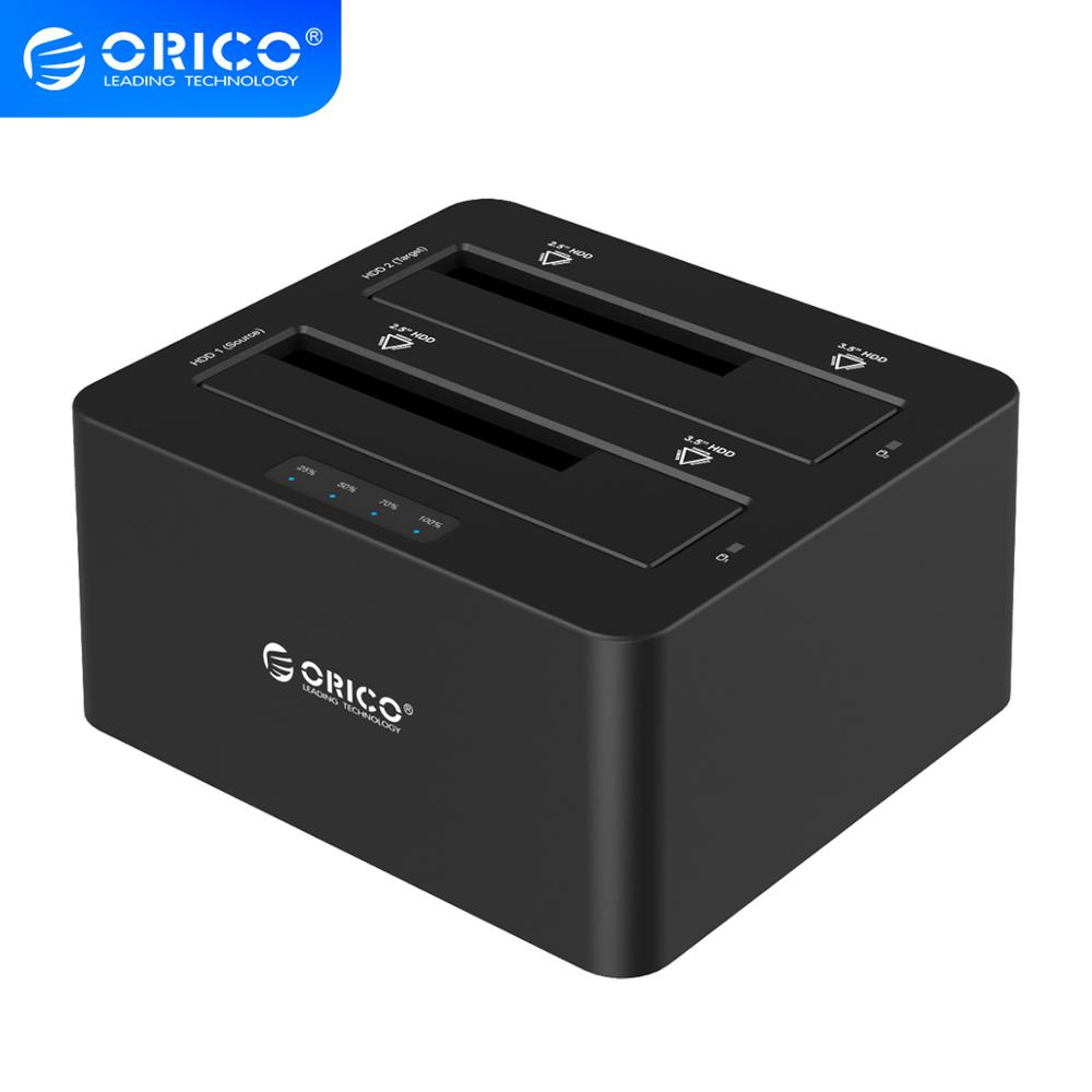 ORICO USB 3 0 to SATA Hard Drive Case Dual Bay External Docking Station for 2 5inch 3 5inch HDD SSD Duplicator Clone Function