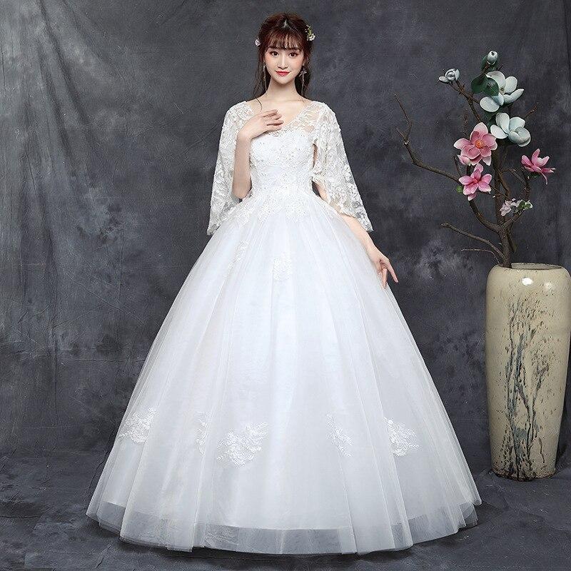 New Romantic V neck shawl Wedding Dress 2019 Long Sleeves Appliques Celebrity Elegant Princess Ball Gown vestido De Noiva