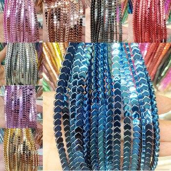 4 ~ 8mm hematita perlas de piedra Natural de amor Chapado en forma de corazón con cuentas para fabricación de joyería DIY pulsera partes de collar