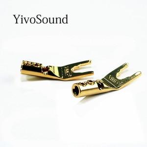 Image 3 - Yivosound Y 1 Type Y Type U HiFi Speaker connectors Banana Plugs pure copper amplifier Connectors Speaker connectors