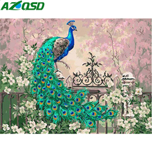Oil-Painting By Numbers AZQSD Canvas Home-Decoration Framless Gift Peacock Animal 50x50cm