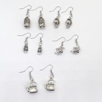 Fashion 1 pair 3D mini Bird cage teapot globe light charms earrings fit DIY handmade gift earring charms Jewelry Making image