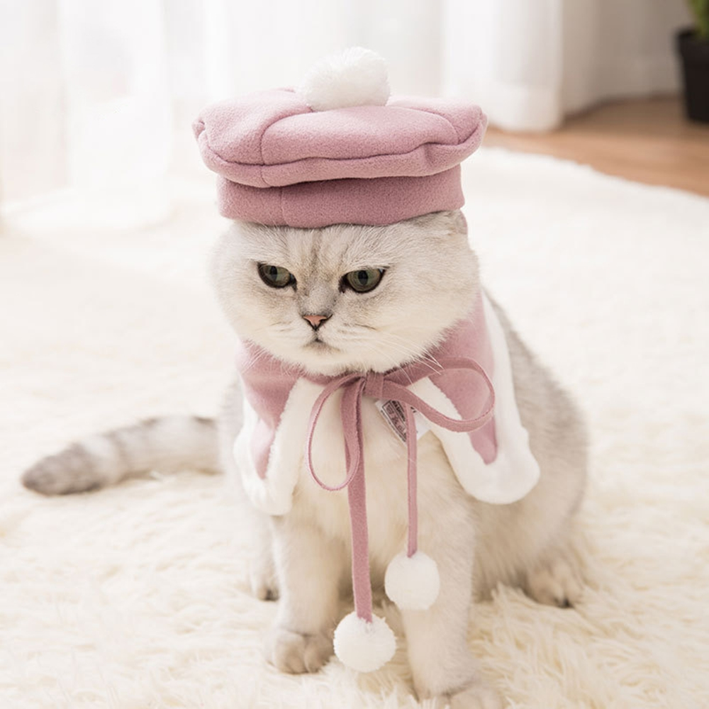 Pink beret and cape suit pet cat and dog clothes Christmas Easter clothes pet equipment comfortable fabric cute pet suit