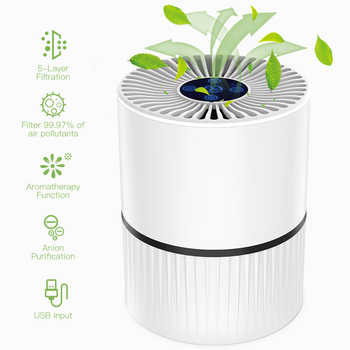 3 Modes Portable Air Purifier USB Charge LED Light True HEPA Filter Air Cleaner Ionizer Negative Ion Generator Aroma Diffuser