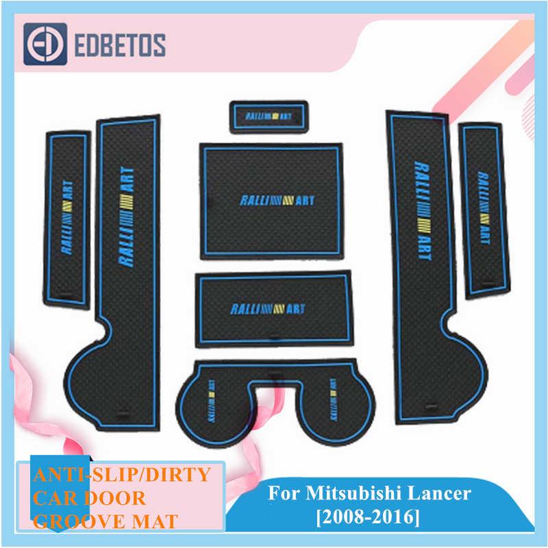 Anti-Slip Poort Slot Beker Mat Voor Mitsubishi Lancer 2008 - 2016 Accessoires Rubber Cup Houders Antislip matten Coaster Auto Sticker