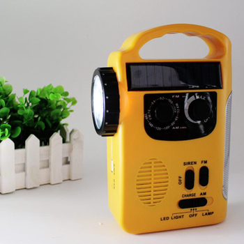 Camping Hiking Multi-functional Outdoor LED Lamp Emergency Hand Crank Solar Dynamo AM/FM Radios Power Bank