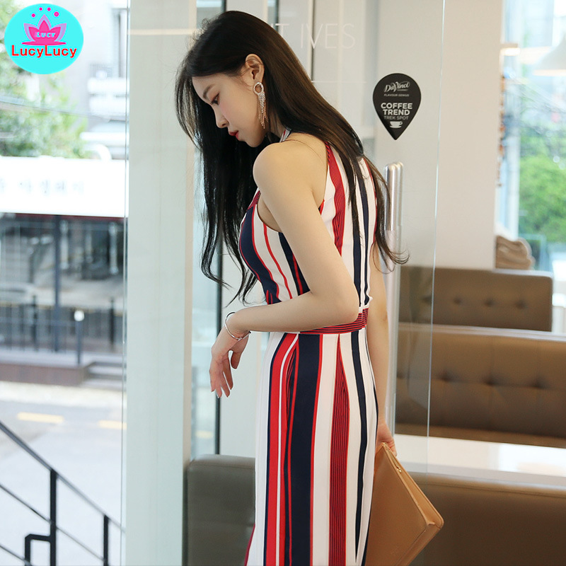 2019 summer women 39 s Europe and America high waist was thin striped wide leg pants sleeveless strapless halter jumpsuit in Jumpsuits from Women 39 s Clothing
