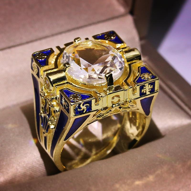 14K Yellow Gold Ring for Men Squar Invisible Setting Natural 1.5 Carat Zircon Wedding Bands Gemstone Engagement Bizuteria Rings