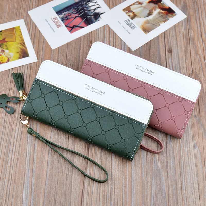 Fashion Long Pu Leather Women Wallet Plaid Tassel Wallets For Woman Wallet Purse Clutch Credit Card Holder Long Purse Cluthes