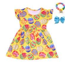 Boutique Toddlers wielkanocne ubrania nowa kreskówka pisanki sukienka z nadrukiem dziewczyny perła rękaw wiosna/lato sukienka z akcesoriami