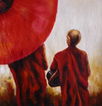 100% Hand-painted Buddhist Monks Oil Painting 24x24.NOT a poster, framing available,slight texture