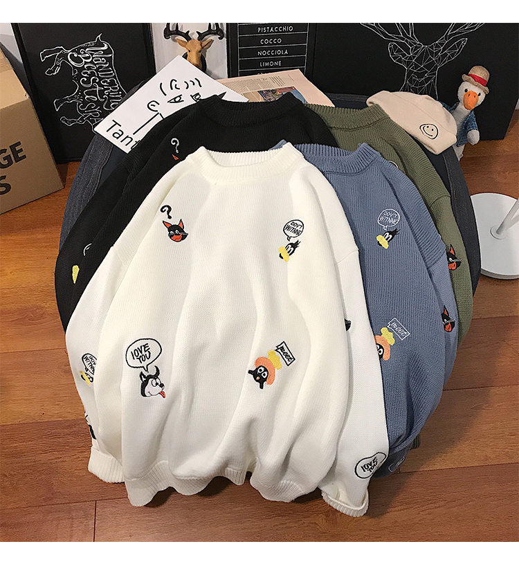 Embroidery Colorful O Neck Knitted Sweatshirt