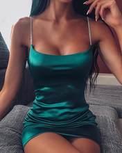 Mulheres mini cetim vestidos de cinta de espaguete feminino sexy magro ajuste bodycon festa clube vestido