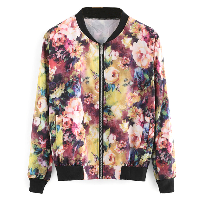 Fashion Short Print Zipper Jacket Coats Spring Autumn Women Bomber Jacket Vintage Floral Stand Collar Long Sleeve Coats