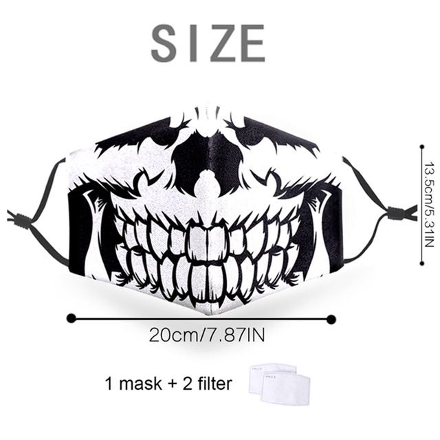 Face Mask Funny Print Grimace Ghost Skeleton Half Face Mask Proof Flu Mouth Mask PM2.5 Filters Dustproof Bacteria Reusable Masks 1