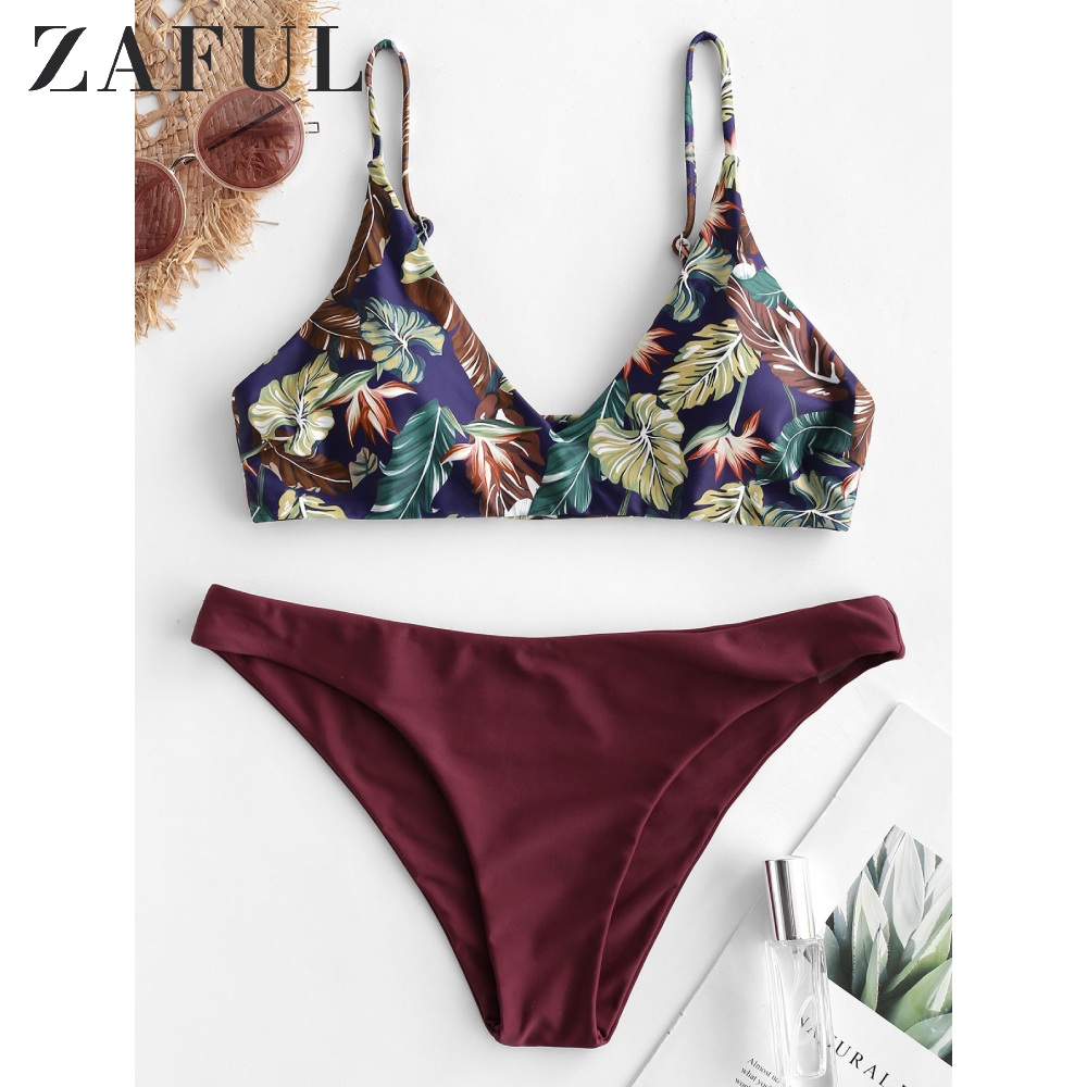 ZAFUL Sexy Women Tropical Leaf Print Bralette Bikini Swimsuit Low Waisted Spaghetti Straps Padded Bikini Sets Ladies Swimwear