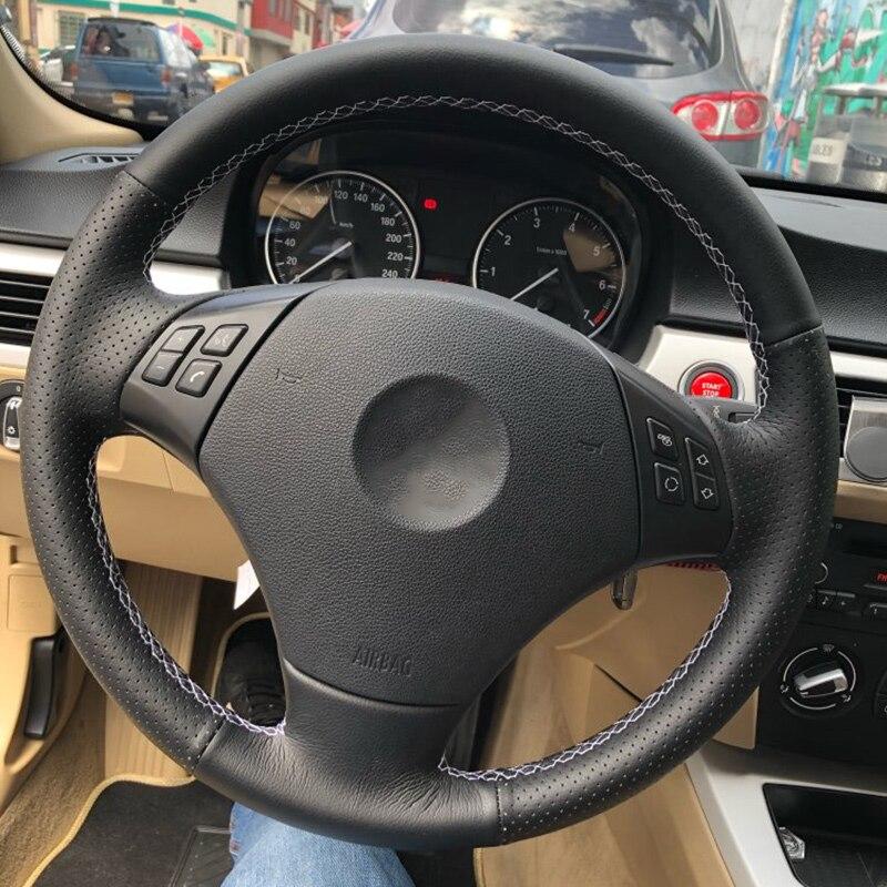 DIY Custom Car Steering Wheel Cover For BMW E90 320 318i 320i 325i 330i 320d X1 328xi 2007 Leather Braid For Steering Wheel