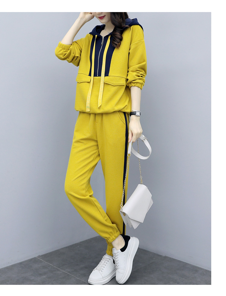Plus Size Yellow Sport Two Piece Outfits Sets Tracksuits Women Hooded Sweatshirt And Pants Suits Casual Fashion Korean Sets 2019 39