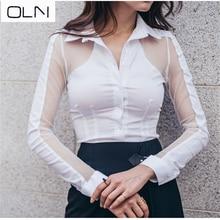 OLN Korea 2019 autumn new Arrival wholesale sexy temperament OL stitching mesh perspective V-neck Slim white shirt female