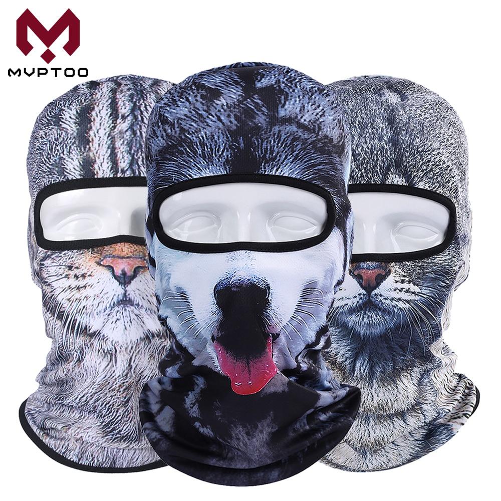 3D Animal Cat Dog Husky Balaclava Hat Motorcycle Motocross Moto Ski Snowboard Helmet Liner Head Shield Face Mask Cap Men Women