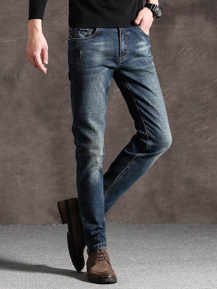 Mens Jeans High Quality Blue Black Color Straight Ripped Jeans For Men