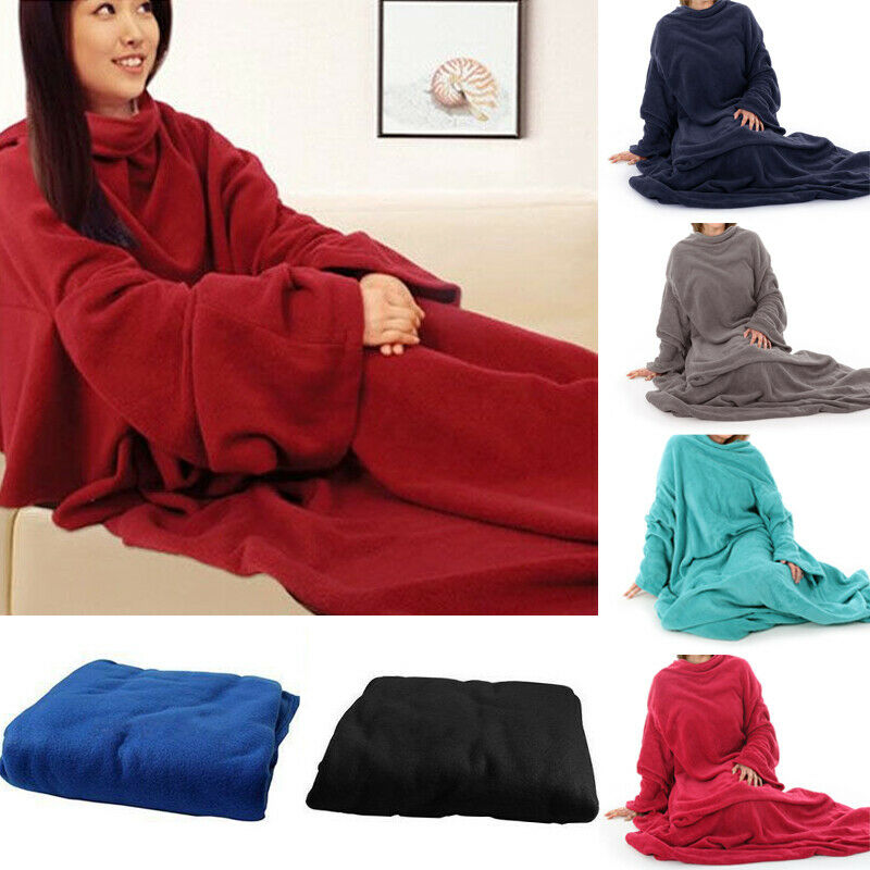 Women Men Warm Soft Coral Fleece Cuddle Snuggle Blanket With Sleeves Family Winter Warm Wool Blanket Robe Shawl With Sleeves