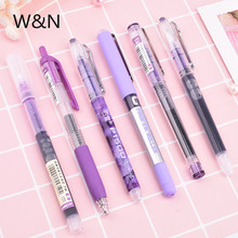 Conjunto de canetas rollerball, 6 peças/7 pçs/set, 0.5mm, grande capacidade, de tinta, gel, escritório, escrita e cor material escolar kawaii papelaria