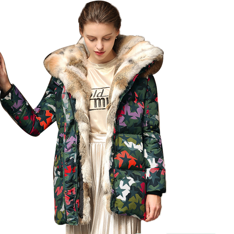 Womens Coat Down Winter Jackets And Coats Thickening Warm Rabbit Raccon Fur White Duck Down Jacket Manteau Femme Plus XXXL XC024