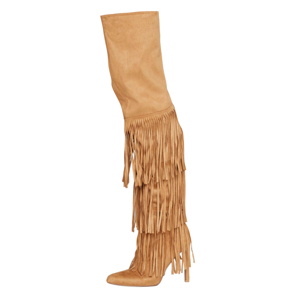 Women's Over-the-knee Boots Brown Knee Length Tassel Super High Heeled Thin Heels Thigh Boot Shoes Woman Femmes Chaussures Botas