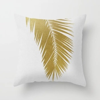 Gold Fern Tropical Cushion Cover
