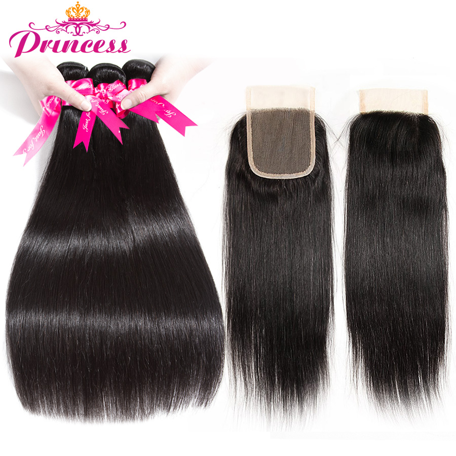 H323bcb0706204770b3ae2a634bf8cfd0M Beautiful Princess Peruvian Straight Hair 3 Bundles With Closure Double Weft Remy Human Hair Bundles With Lace Closure