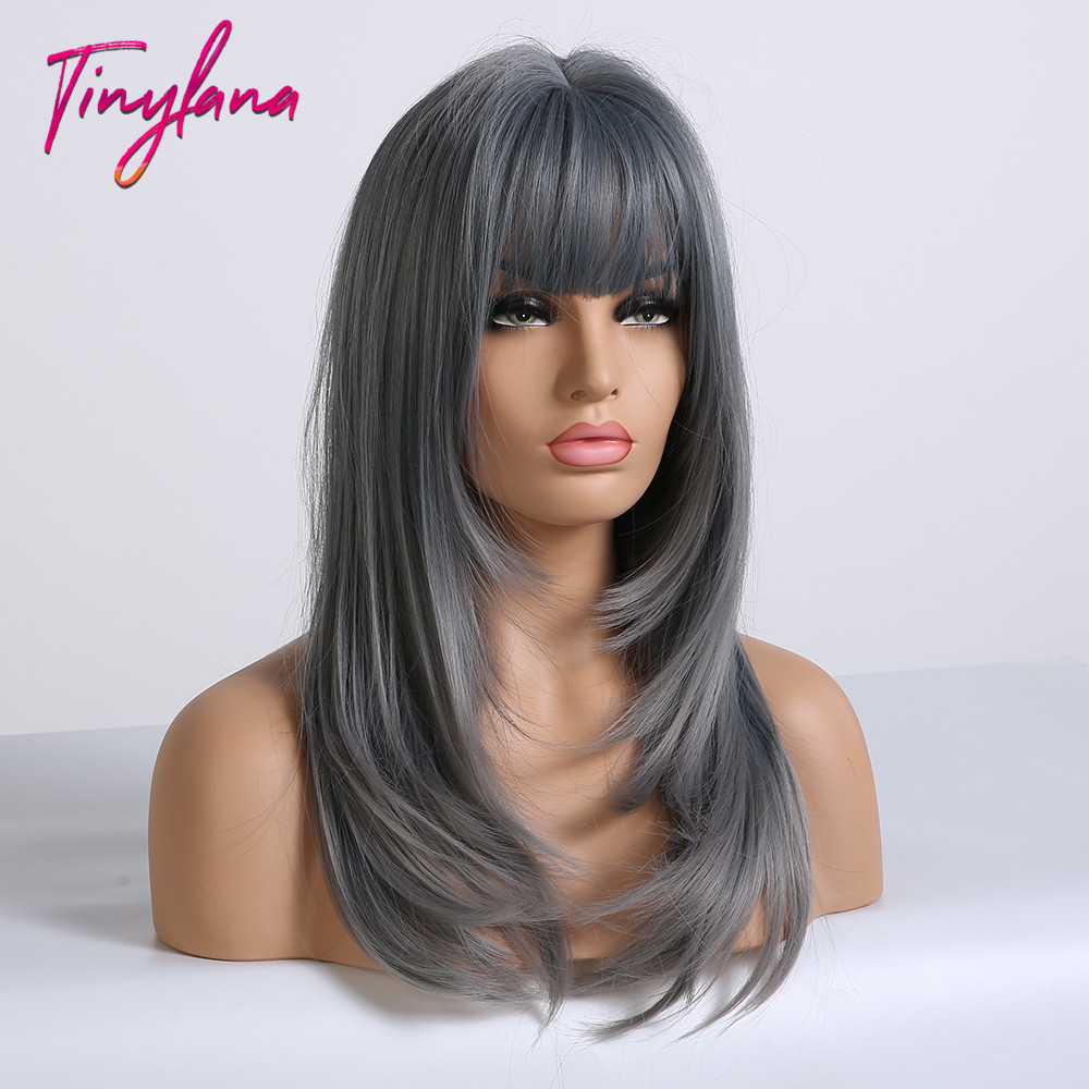 Image 4 - TINY LANA Ash Blue Long straight Hair with Bangs Synthetic Wig for Women Lolita&Cosplay High Temperature Fiber Layered Wigs afroSynthetic None-Lace  Wigs   -