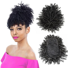 Afro Curly Drawstring Ponytail with Bangs One Piece Clip In Hair Extensions Short Black Synthetic Updos High Temperature Fiber [delice] 16 inches women s high temperature fiber synthetic hair curly ponytail piano color 90g piece
