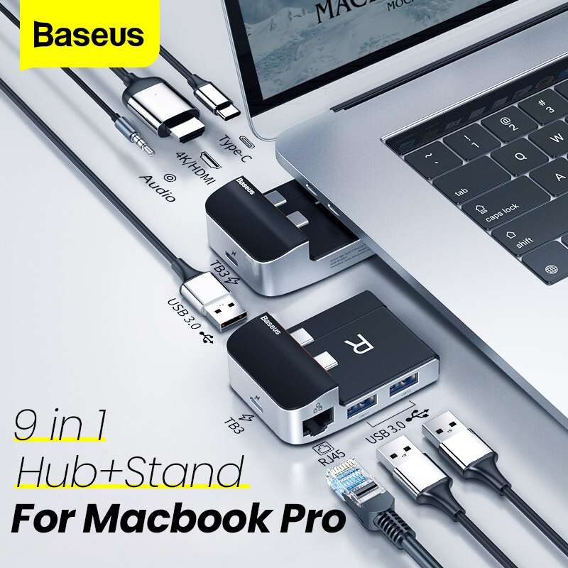 Baseus USB HUB 9 Ports USB 3.0 HUB For Macbook Air/Pro USB Splitter Adapter HDMI RJ45 HUB And Holder 2 In 1 Computer Accessories