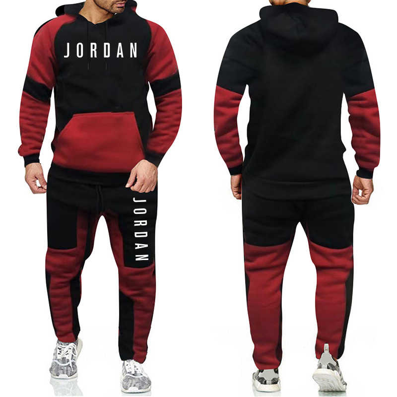 Merk Fashion Trainingspak Warm En Fluweel Mannen Sport Patchwork Set Hoodie Sweatshirt Sportscholen Fitness Broek Workout Running Pak