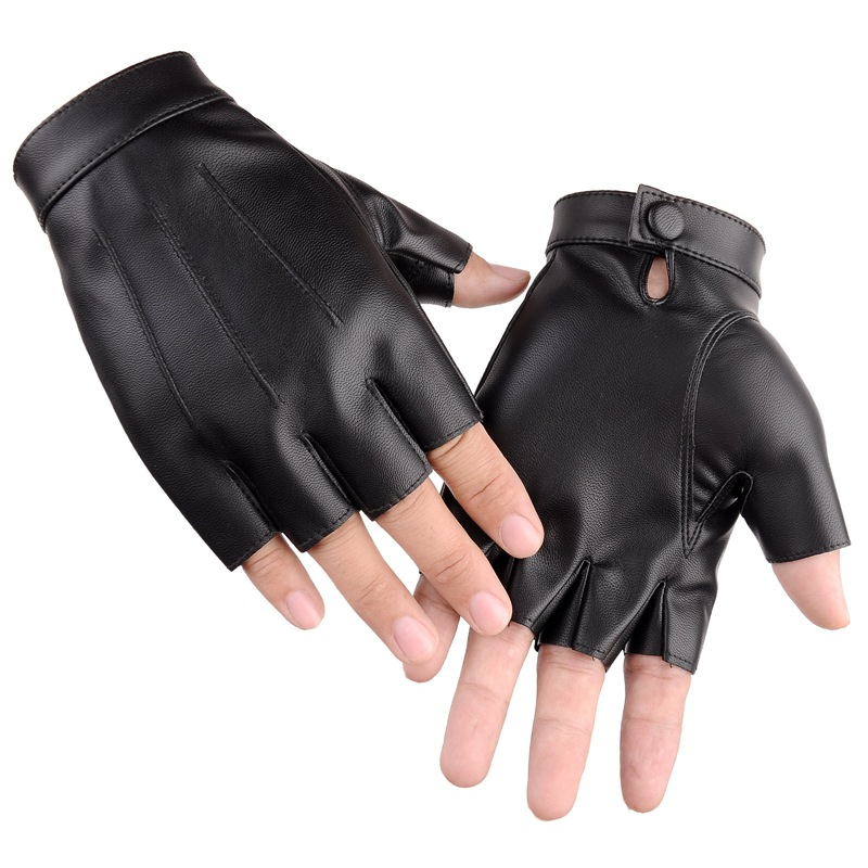 PU Leather Motor Rading Driving Gloves Men Anti-Slip Fingerless Gloves Male Summer Sun Protection Cycling Dancing Party Gloves