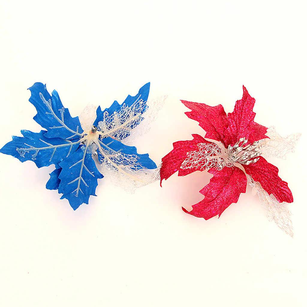 Natal Fake Bunga Hollow Emas Glitter Payet Simulasi Bunga Natal Pohon Natal Dekorasi Tahun Baru Adornos De Navidad