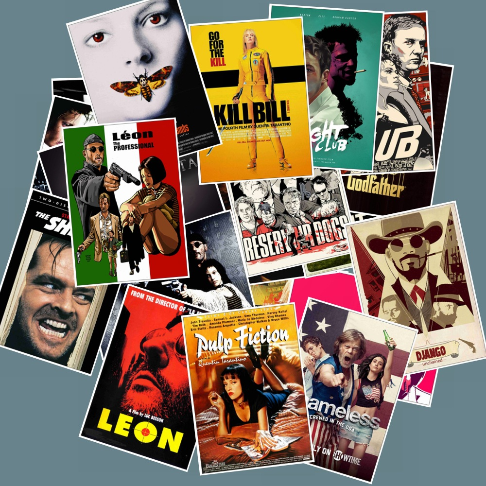 25pcs Pack Classic Movie Posters Kill Bill Stickers Waterproof PVC Skateboard Suitcase Phone Luggage Cool Girl Sticker Kids Toys