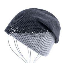 Winter Knitted Hat Women Rhinestones Stitching Skull Beanie Outdoor Beanies for Men Hat Hip Hop