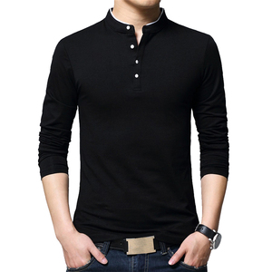 BROWON бренд осень Повседневное мужские футболки Модная 2020 продано Цвет с воротником «Мандарин», футболка с длинными рукавами Luxury Plus Размеры ...
